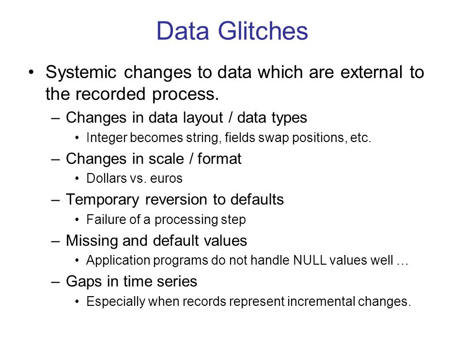 Data Glitches Systemic changes to data which are external to the recorded process.