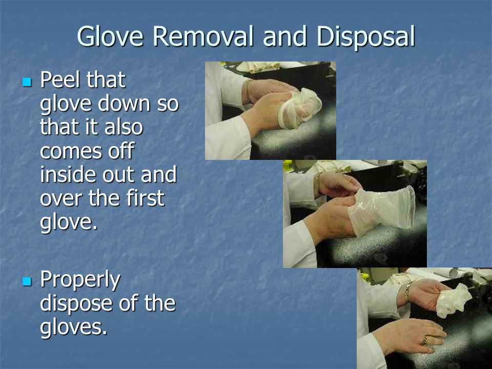 39 Glove Removal and Disposal Peel that glove down so that it also comes off inside out and over the first glove.