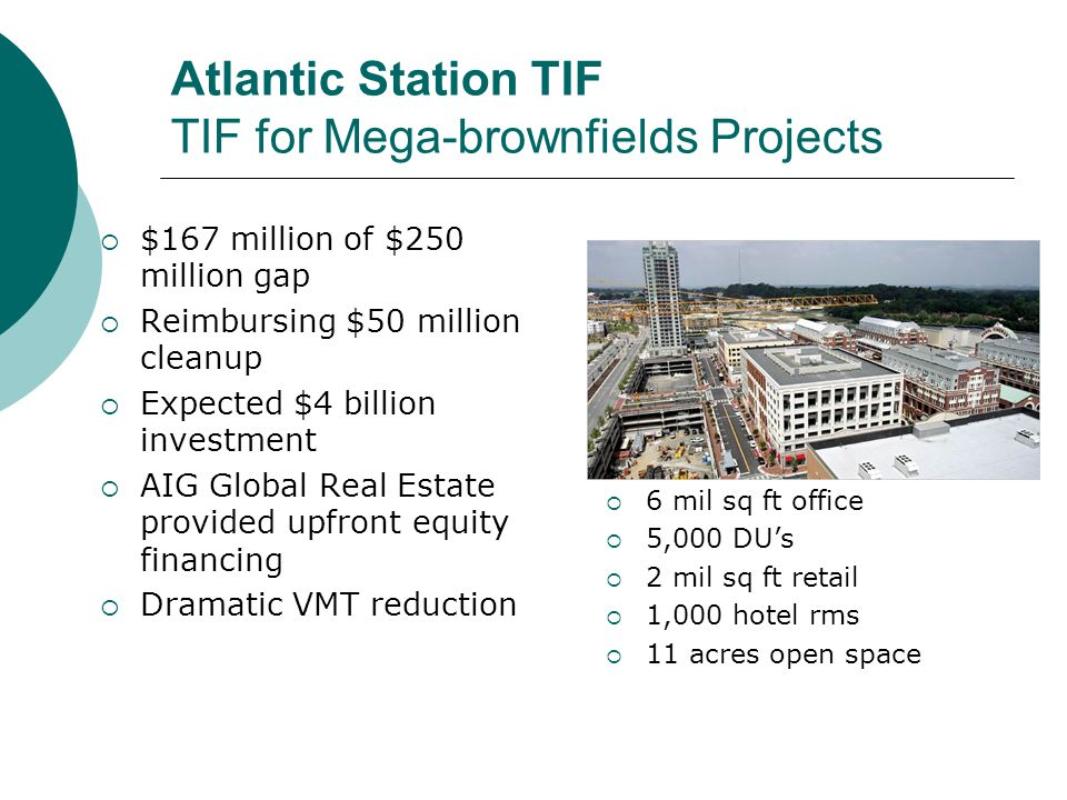 Atlantic Station TIF TIF for Mega-brownfields Projects  $167 million of $250 million gap  Reimbursing $50 million cleanup  Expected $4 billion investment  AIG Global Real Estate provided upfront equity financing  Dramatic VMT reduction  6 mil sq ft office  5,000 DU's  2 mil sq ft retail  1,000 hotel rms  11 acres open space