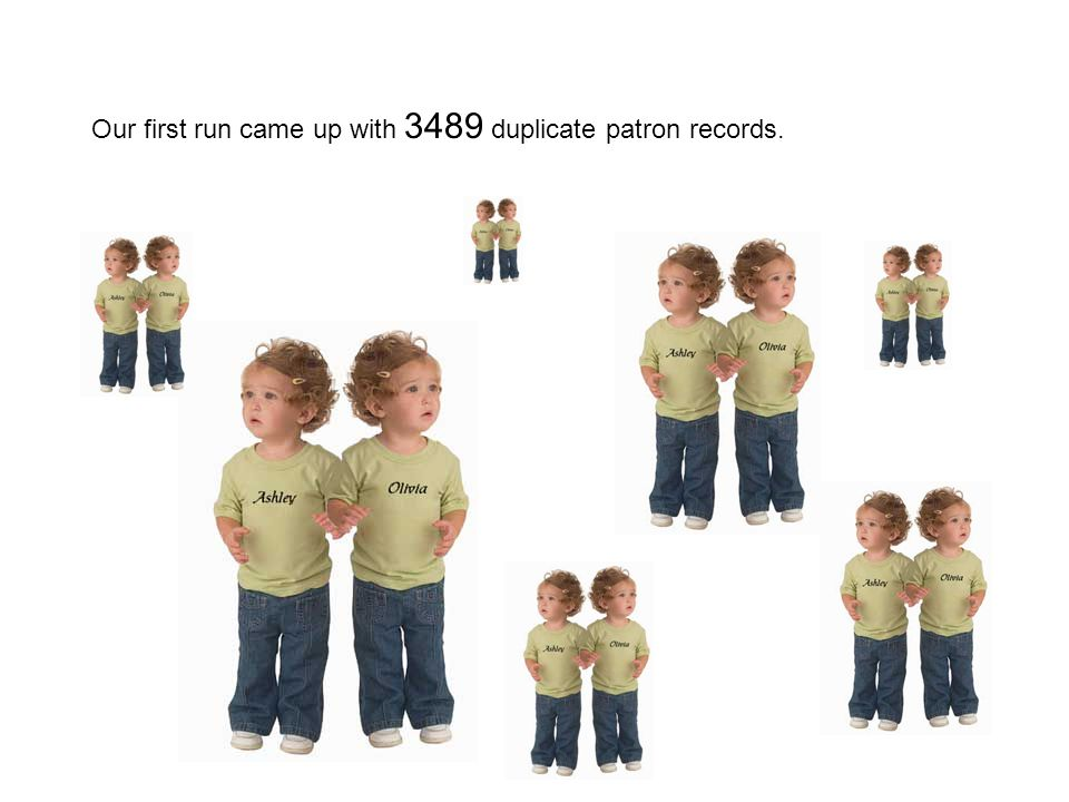 Our first run came up with 3489 duplicate patron records.