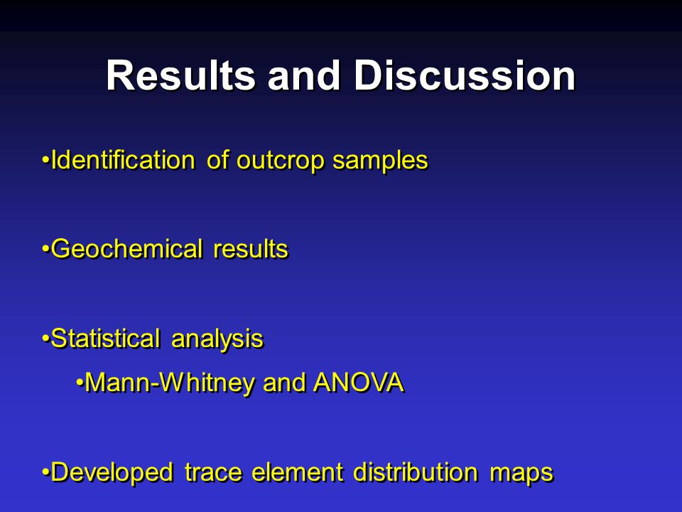 Identification of outcrop samples Geochemical results Statistical analysis Mann-Whitney and ANOVA Developed trace element distribution maps Identification of outcrop samples Geochemical results Statistical analysis Mann-Whitney and ANOVA Developed trace element distribution maps Results and Discussion