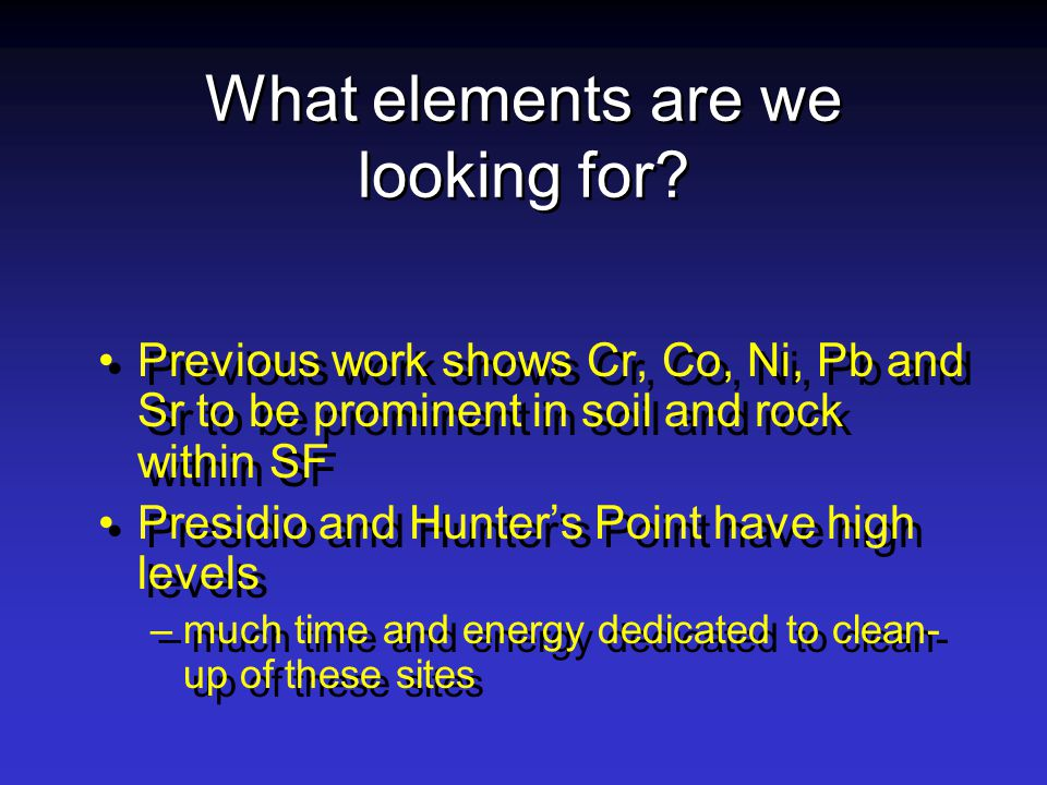 What elements are we looking for.