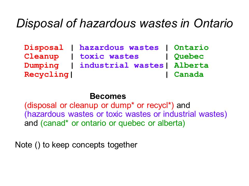 Disposal of hazardous wastes in Ontario Disposal | hazardous wastes| Ontario Cleanup | toxic wastes| Quebec Dumping | industrial wastes| Alberta Recycling|| Canada Becomes (disposal or cleanup or dump* or recycl*) and (hazardous wastes or toxic wastes or industrial wastes) and (canad* or ontario or quebec or alberta) Note () to keep concepts together