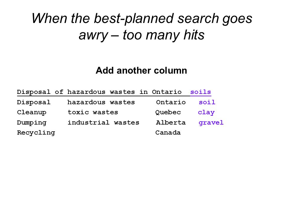 When the best-planned search goes awry – too many hits Add another column Disposal of hazardous wastes in Ontario soils Disposal hazardous wastes Ontario soil Cleanup toxic wastes Quebec clay Dumping industrial wastes Alberta gravel Recycling Canada