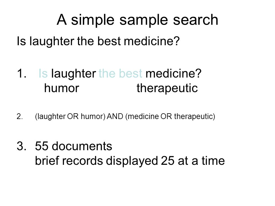 A simple sample search Is laughter the best medicine.