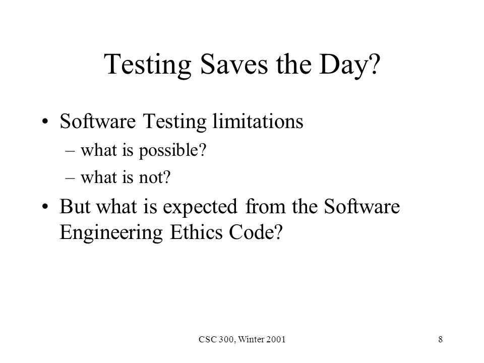 CSC 300, Winter 20019 Standards for Software Reliability and Safety.