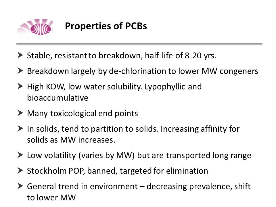 Properties of PCBs  Stable, resistant to breakdown, half-life of 8-20 yrs.