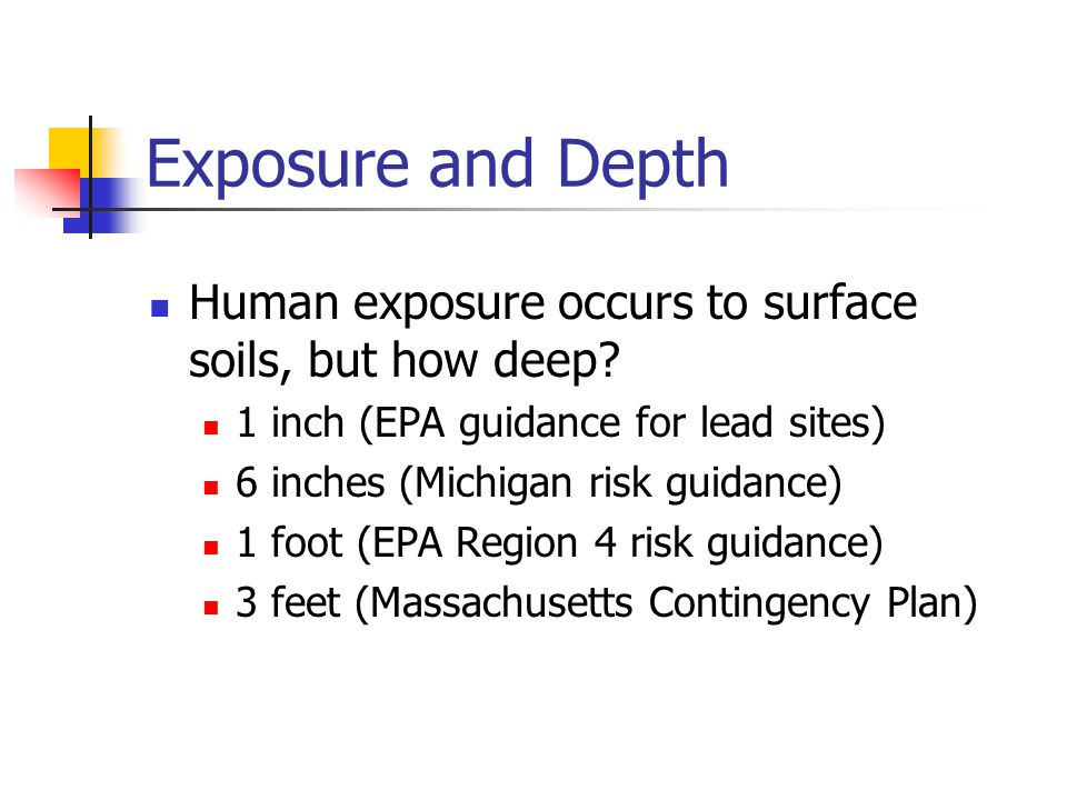 Exposure and Depth Human exposure occurs to surface soils, but how deep.