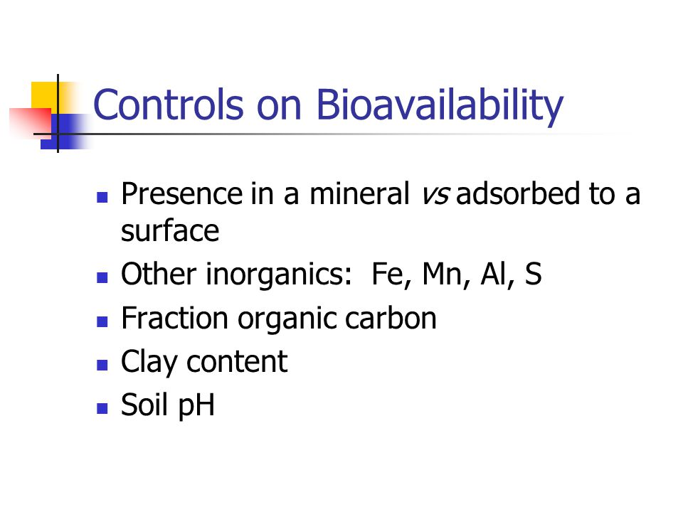 Controls on Bioavailability Presence in a mineral vs adsorbed to a surface Other inorganics: Fe, Mn, Al, S Fraction organic carbon Clay content Soil pH