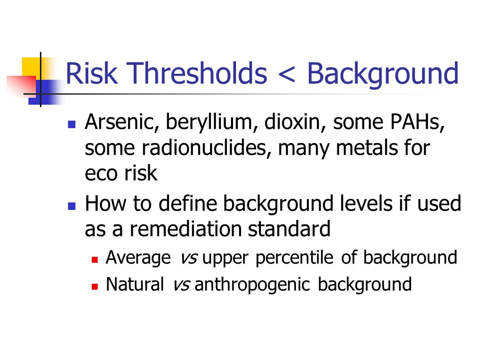 Risk Thresholds < Background Arsenic, beryllium, dioxin, some PAHs, some radionuclides, many metals for eco risk How to define background levels if used as a remediation standard Average vs upper percentile of background Natural vs anthropogenic background