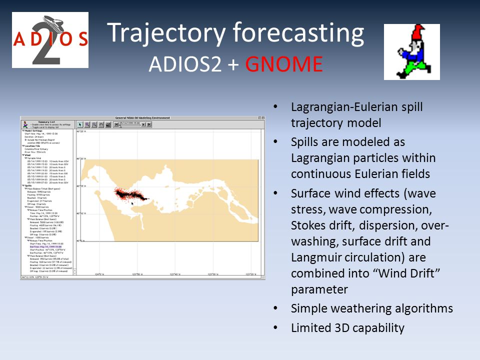 Trajectory forecasting ADIOS2 + GNOME Lagrangian-Eulerian spill trajectory model Spills are modeled as Lagrangian particles within continuous Eulerian fields Surface wind effects (wave stress, wave compression, Stokes drift, dispersion, over- washing, surface drift and Langmuir circulation) are combined into Wind Drift parameter Simple weathering algorithms Limited 3D capability
