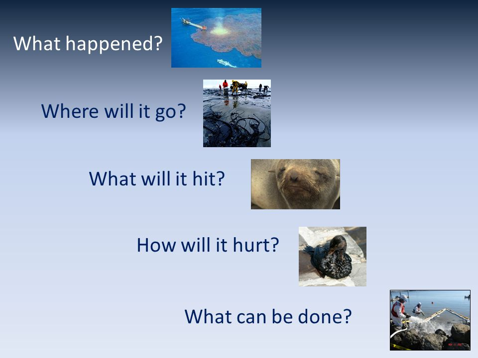 What happened? Where will it go? What will it hit? How will it hurt? What can be done?