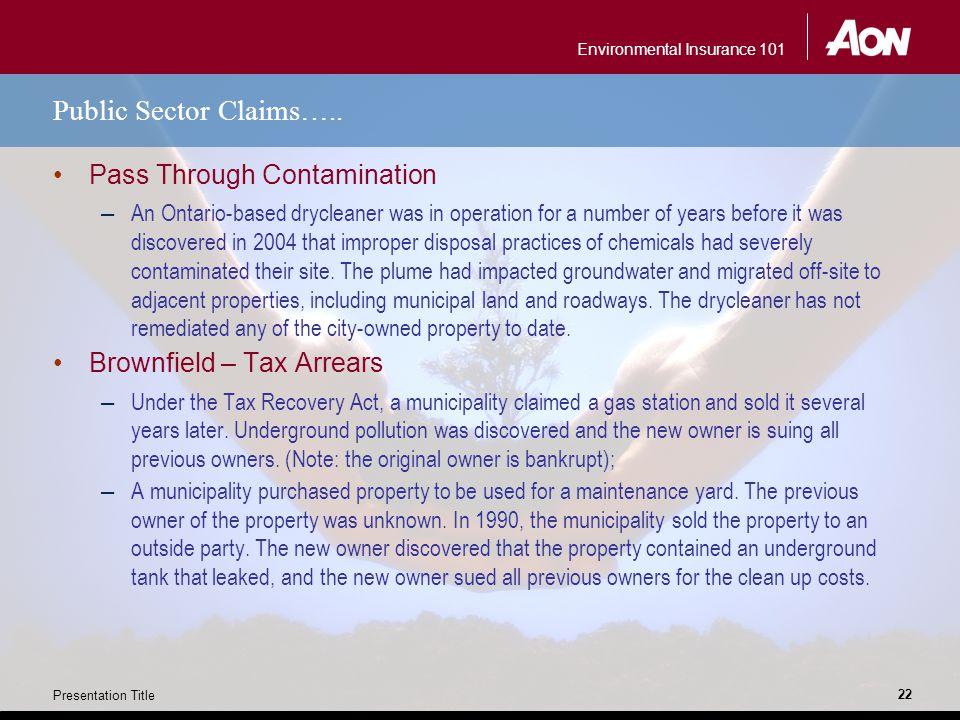 Environmental Insurance 101 Presentation Title 22 Public Sector Claims…..