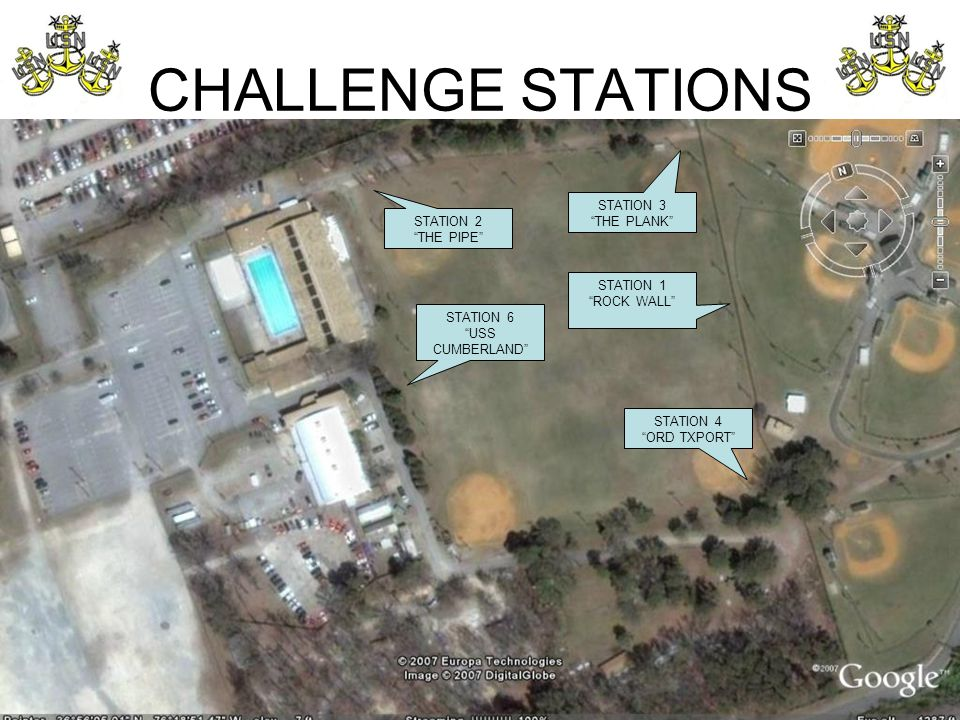 "CHALLENGE STATIONS STATION 2 ""THE PIPE"" STATION 3 ""THE PLANK"" STATION 1 ""ROCK WALL"" STATION 4 ""ORD TXPORT"" STATION 6 ""USS CUMBERLAND"""