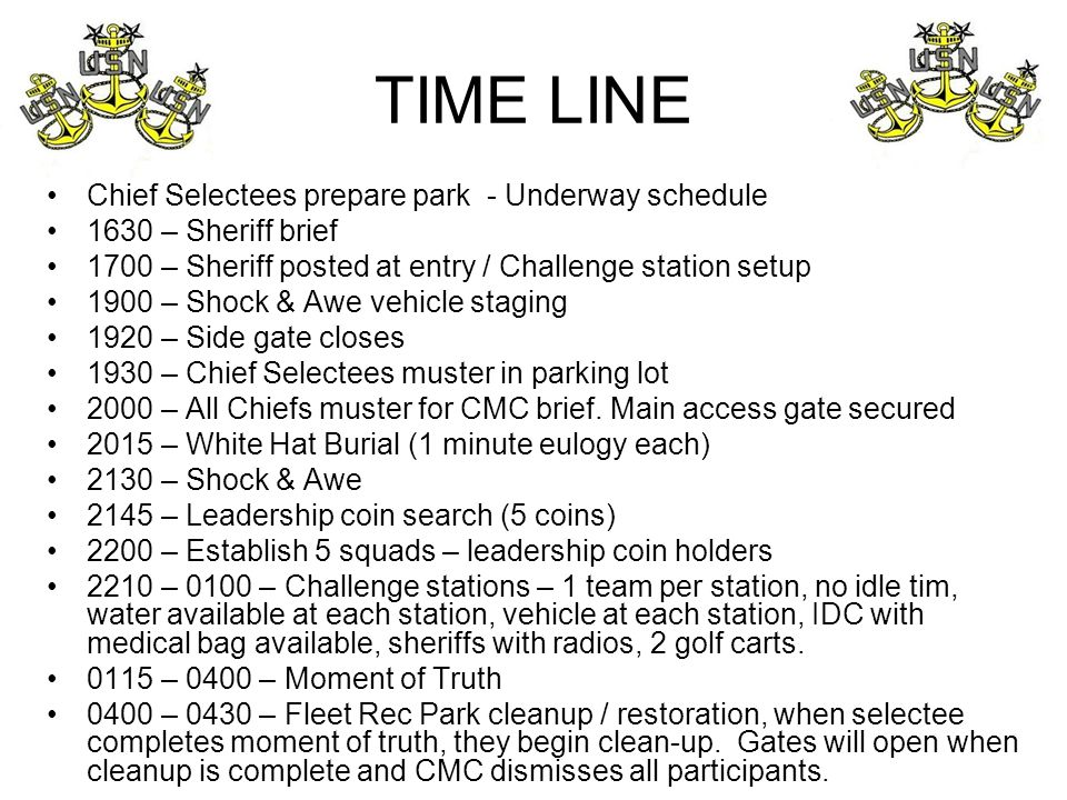 TIME LINE Chief Selectees prepare park - Underway schedule 1630 – Sheriff brief 1700 – Sheriff posted at entry / Challenge station setup 1900 – Shock