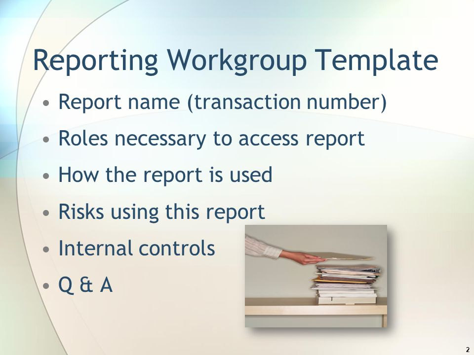 Reporting Workgroup Template Report name (transaction number) Roles necessary to access report How the report is used Risks using this report Internal controls Q & A 2