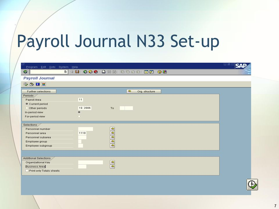 Payroll Journal N33 Set-up. 7