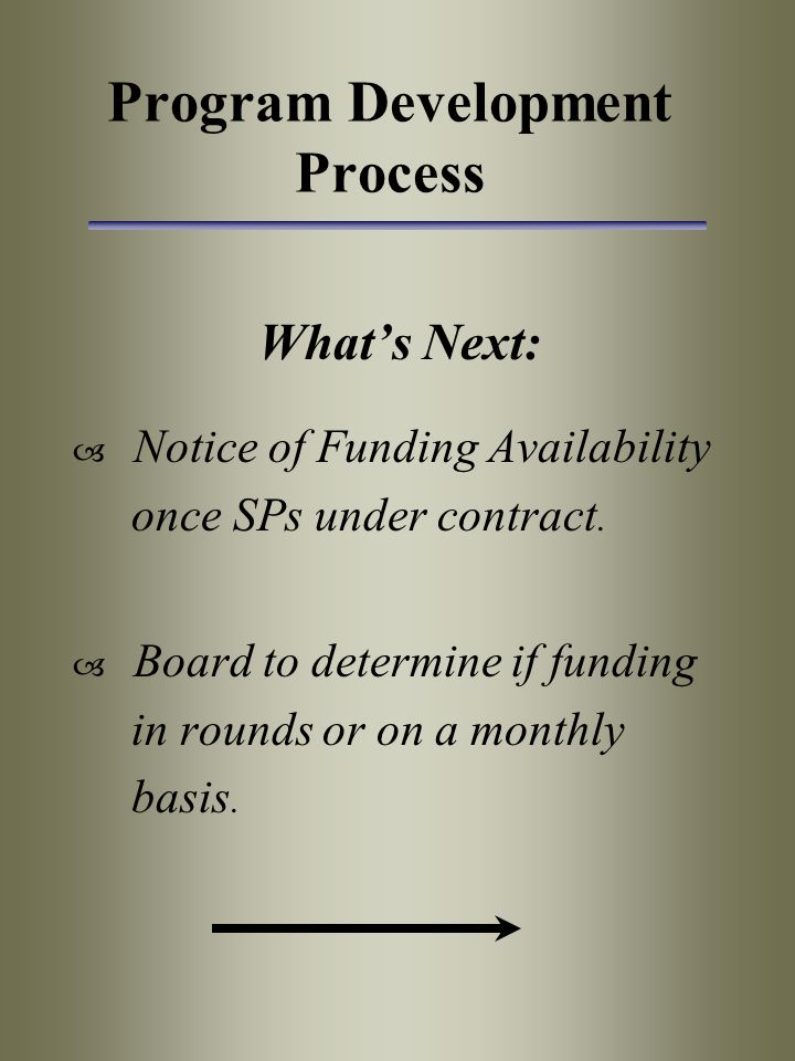 Program Development Process What's Next:  Notice of Funding Availability once SPs under contract.