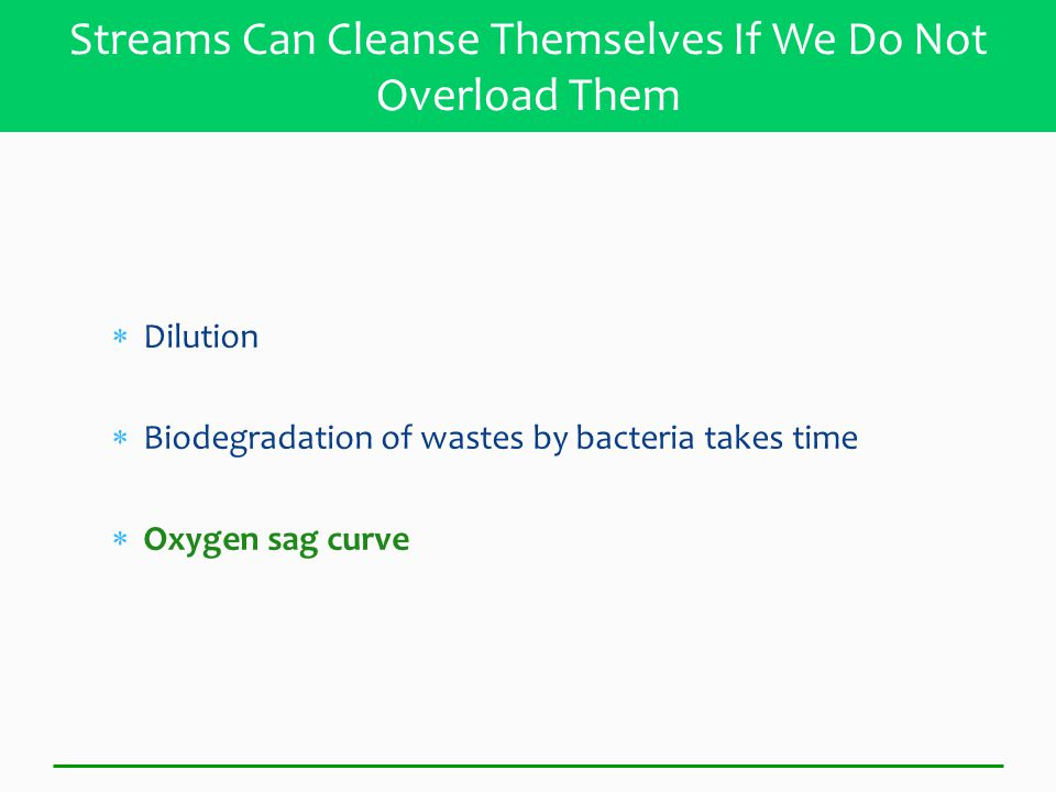  Dilution  Biodegradation of wastes by bacteria takes time  Oxygen sag curve Streams Can Cleanse Themselves If We Do Not Overload Them