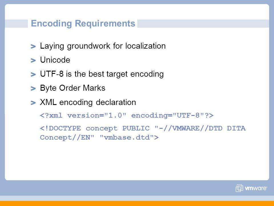 Encoding Requirements Laying groundwork for localization Unicode UTF-8 is the best target encoding Byte Order Marks XML encoding declaration