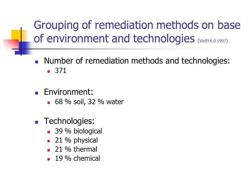 Solidification/ stabilization, Applicability, duration, limitations, costs (FRTR 2001) Applicability for pollutants The target contaminant group for ex situ S/S is inorganics, including radionuclides Duration Typical ex situ S/S is a short- to medium-term technology More detailed data http://www.frtr.gov/matrix2/section4/4-21.html