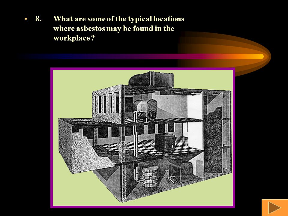 8.What are some of the typical locations where asbestos may be found in the workplace