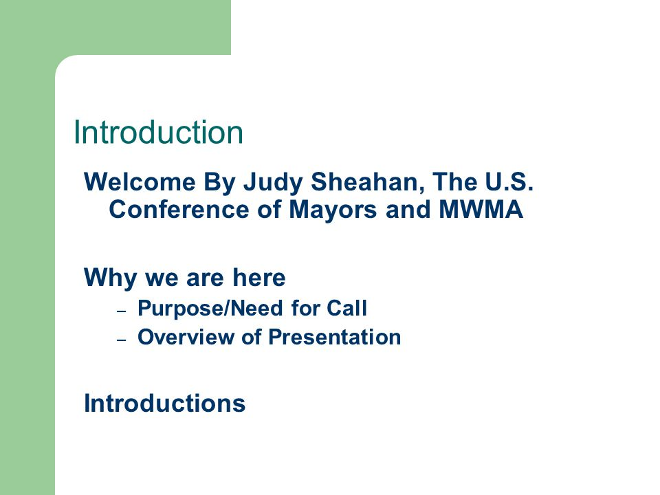 Introduction Welcome By Judy Sheahan, The U.S.