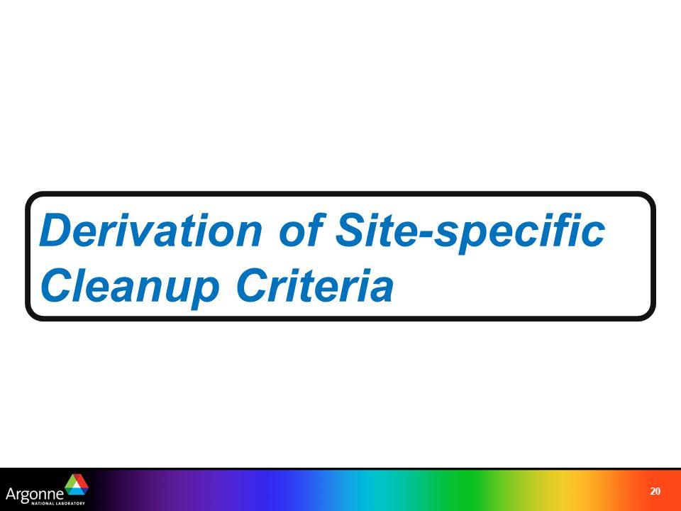 20 Derivation of Site-specific Cleanup Criteria