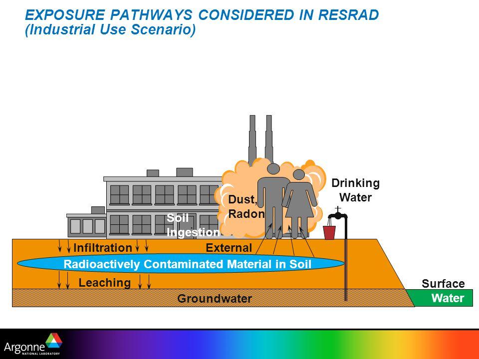 RESRAD PATHWAYS Pathway Analysis - nine environmental pathways Direct Exposure Inhalation Ingestion of plant foods Ingestion of meat Ingestion of milk Ingestion of aquatic foods Ingestion of water Ingestion of soil Radon