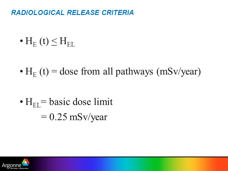 SINGLE RADIONUCLIDE GUIDELINE G i = minimum G i (t) for t < 1000 years G i (t)= DSR i (t)= = dose/source concentration ratio for radionuclide i at time t (mSv/year per Bq/g)