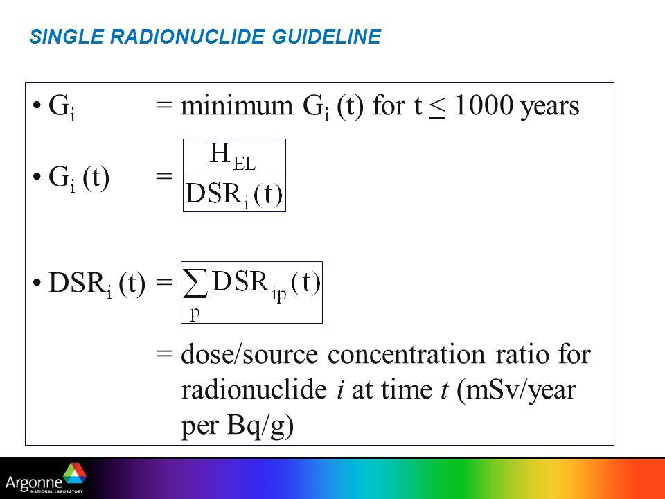 SINGLE RADIONUCLIDE GUIDELINE G i = minimum G i (t) for t < 1000 years G i (t)= DSR i (t)= = dose/source concentration ratio for radionuclide i at tim