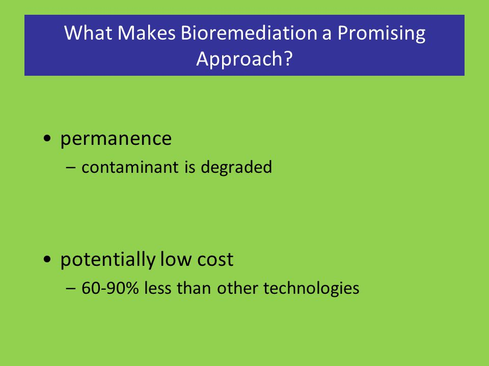 What Makes Bioremediation a Promising Approach? permanence –contaminant is degraded potentially low cost –60-90% less than other technologies