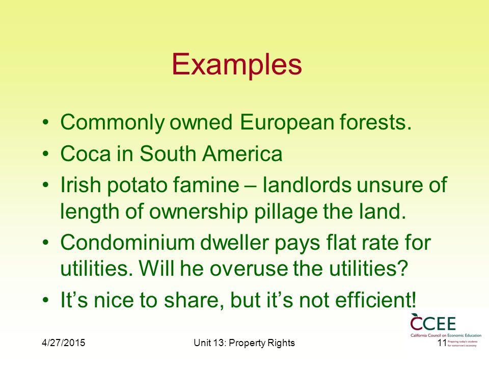 4/27/2015Unit 13: Property Rights11 Examples Commonly owned European forests.