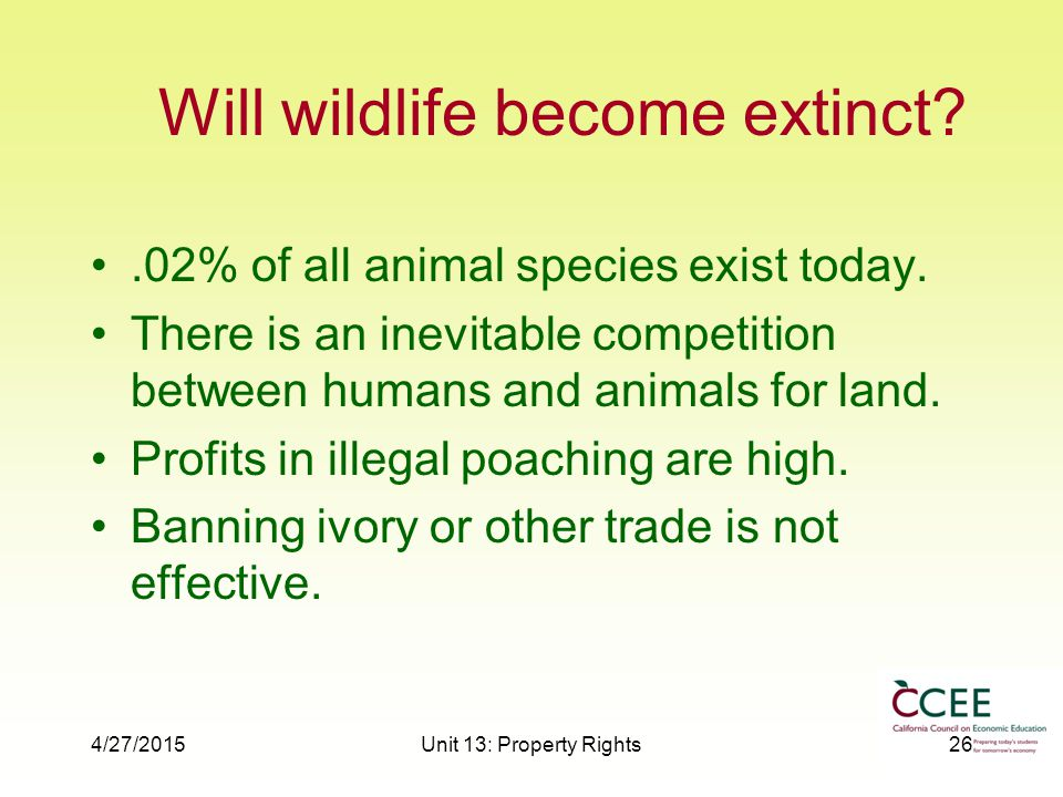 4/27/2015Unit 13: Property Rights26 Will wildlife become extinct .02% of all animal species exist today.