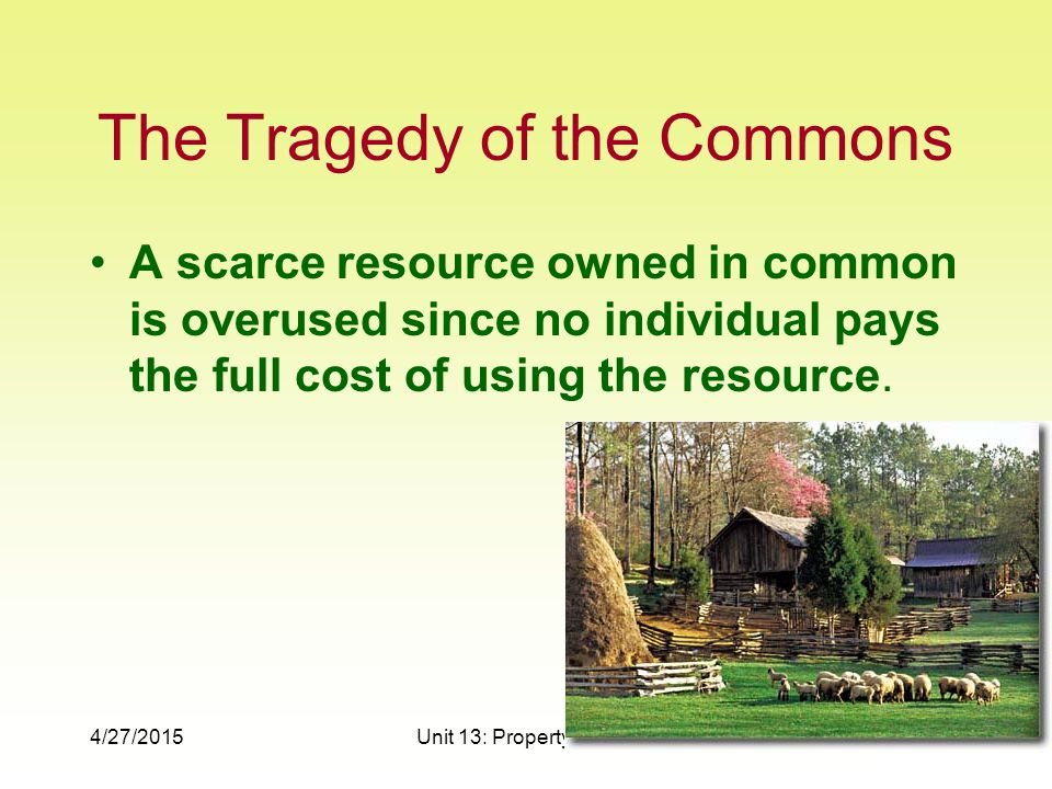 4/27/2015Unit 13: Property Rights7 The Tragedy of the Commons A scarce resource owned in common is overused since no individual pays the full cost of using the resource.