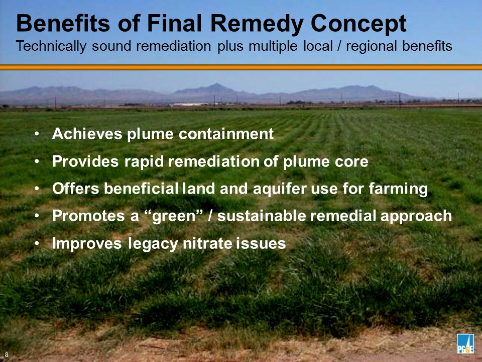 Achieves plume containment Provides rapid remediation of plume core Offers beneficial land and aquifer use for farming Promotes a green / sustainable remedial approach Improves legacy nitrate issues Benefits of Final Remedy Concept Technically sound remediation plus multiple local / regional benefits 8