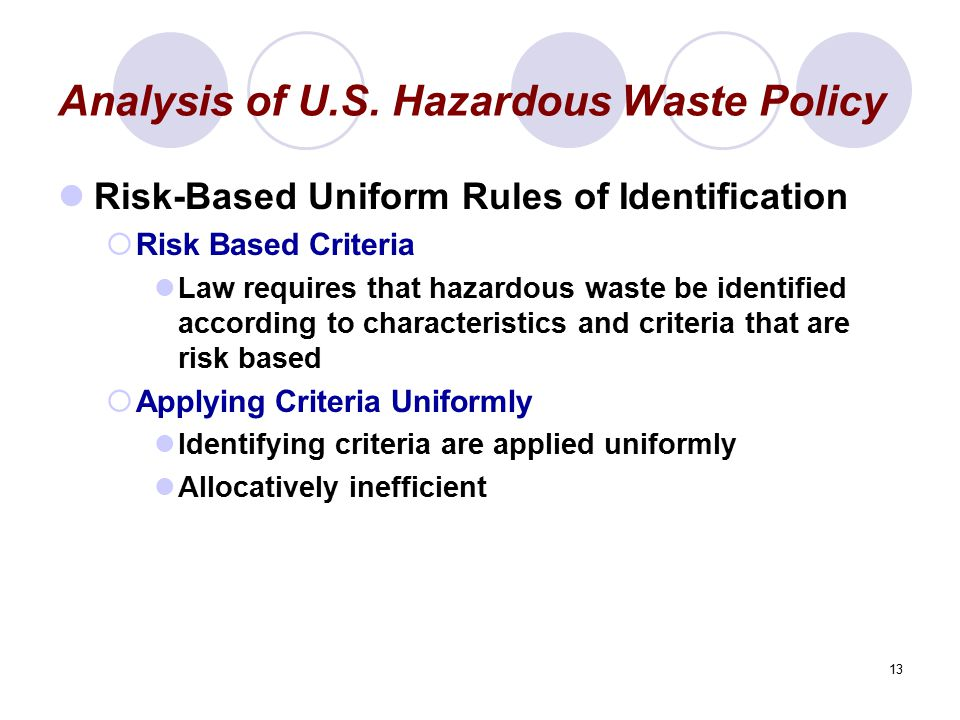 13 Analysis of U.S. Hazardous Waste Policy Risk-Based Uniform Rules of Identification  Risk Based Criteria Law requires that hazardous waste be ident