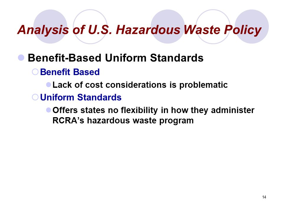 14 Analysis of U.S. Hazardous Waste Policy Benefit-Based Uniform Standards  Benefit Based Lack of cost considerations is problematic  Uniform Standa