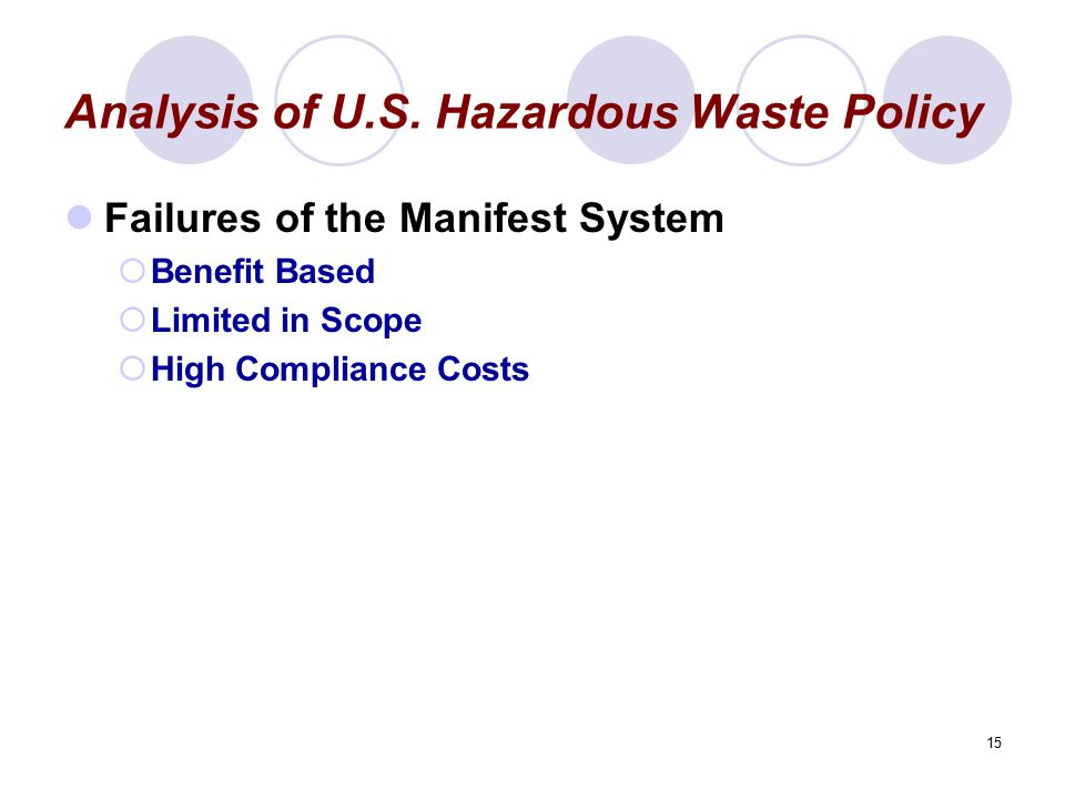 15 Analysis of U.S. Hazardous Waste Policy Failures of the Manifest System  Benefit Based  Limited in Scope  High Compliance Costs