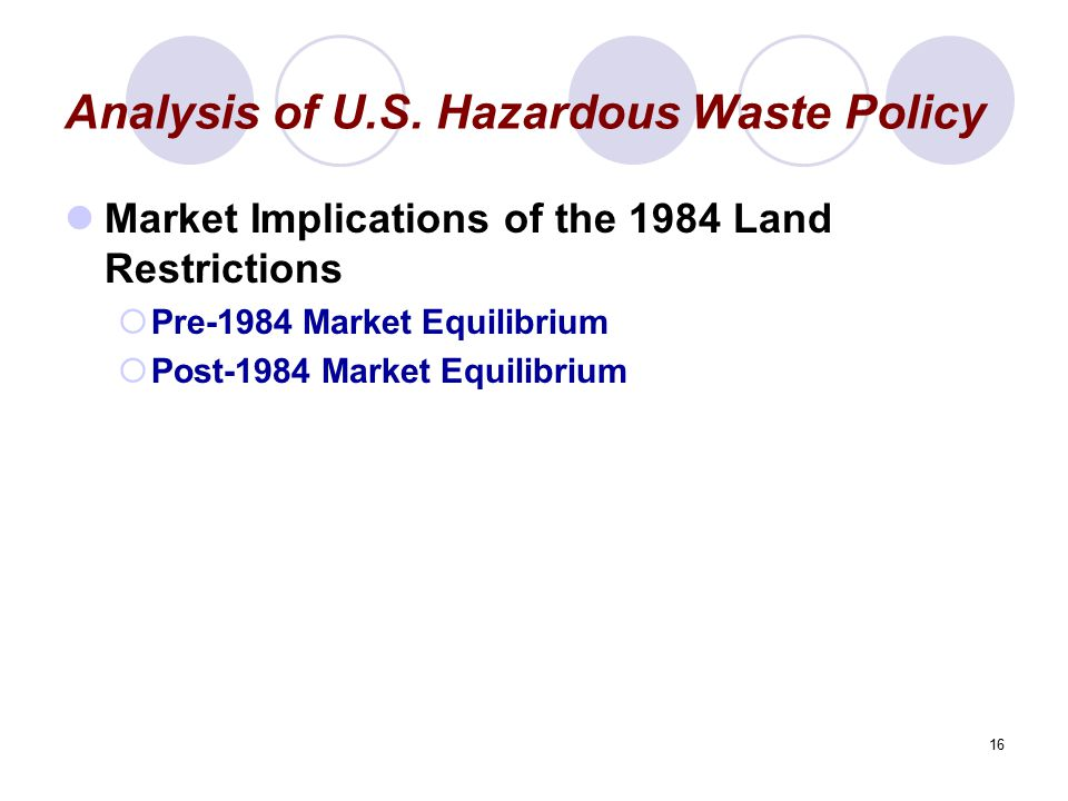 16 Analysis of U.S. Hazardous Waste Policy Market Implications of the 1984 Land Restrictions  Pre-1984 Market Equilibrium  Post-1984 Market Equilibr