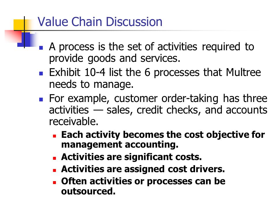 Value Chain Discussion A process is the set of activities required to provide goods and services.