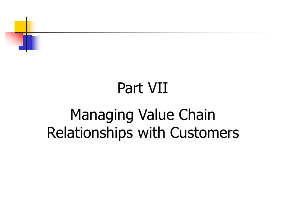 Part VII Managing Value Chain Relationships with Customers