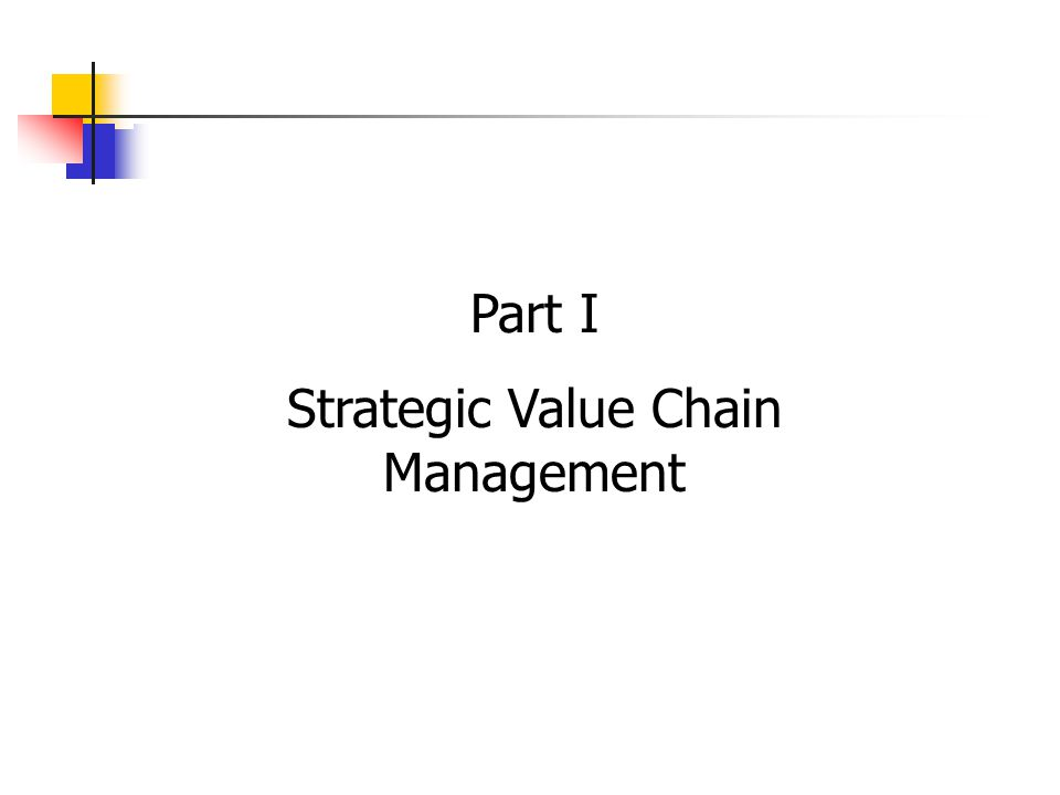 Part I Strategic Value Chain Management
