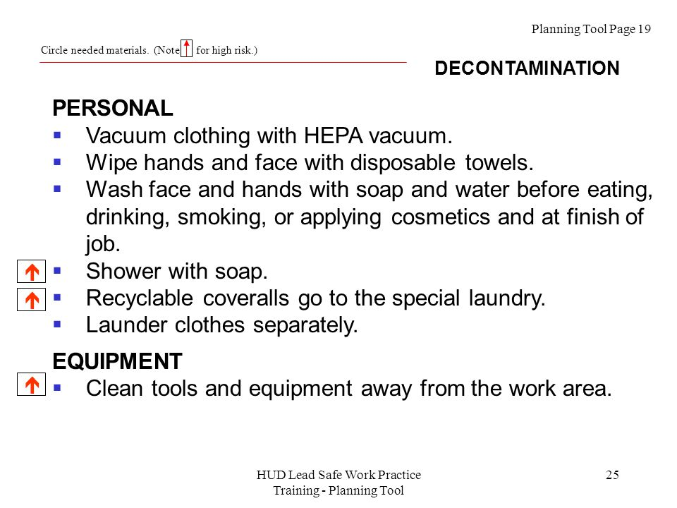 HUD Lead Safe Work Practice Training - Planning Tool 25 Planning Tool Page 19 DECONTAMINATION Circle needed materials.