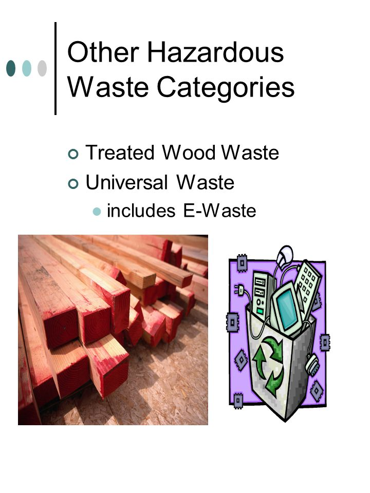 Other Hazardous Waste Categories Treated Wood Waste Universal Waste includes E-Waste