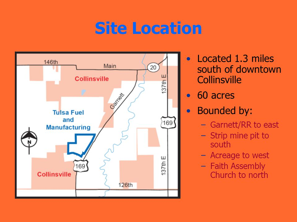 Site Location Located 1.3 miles south of downtown Collinsville 60 acres Bounded by: –Garnett/RR to east –Strip mine pit to south –Acreage to west –Faith Assembly Church to north