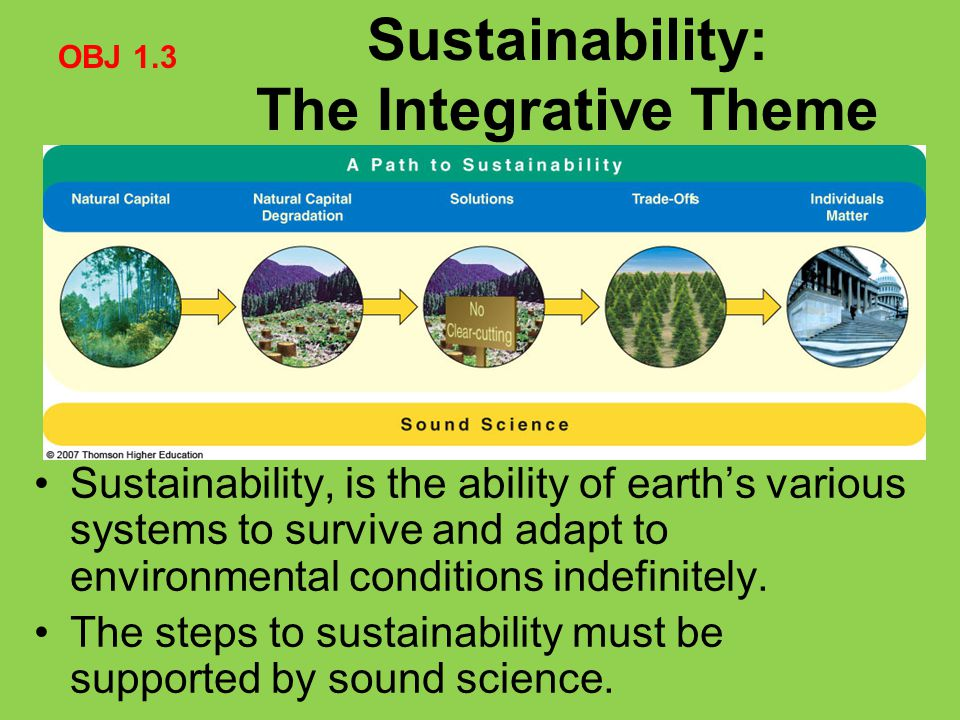 Sustainability, is the ability of earth's various systems to survive and adapt to environmental conditions indefinitely. The steps to sustainability m
