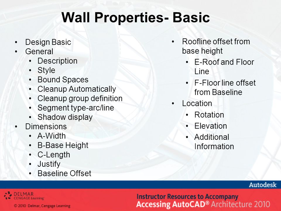 Wall Properties- Basic Design Basic General Description Style Bound Spaces Cleanup Automatically Cleanup group definition Segment type-arc/line Shadow
