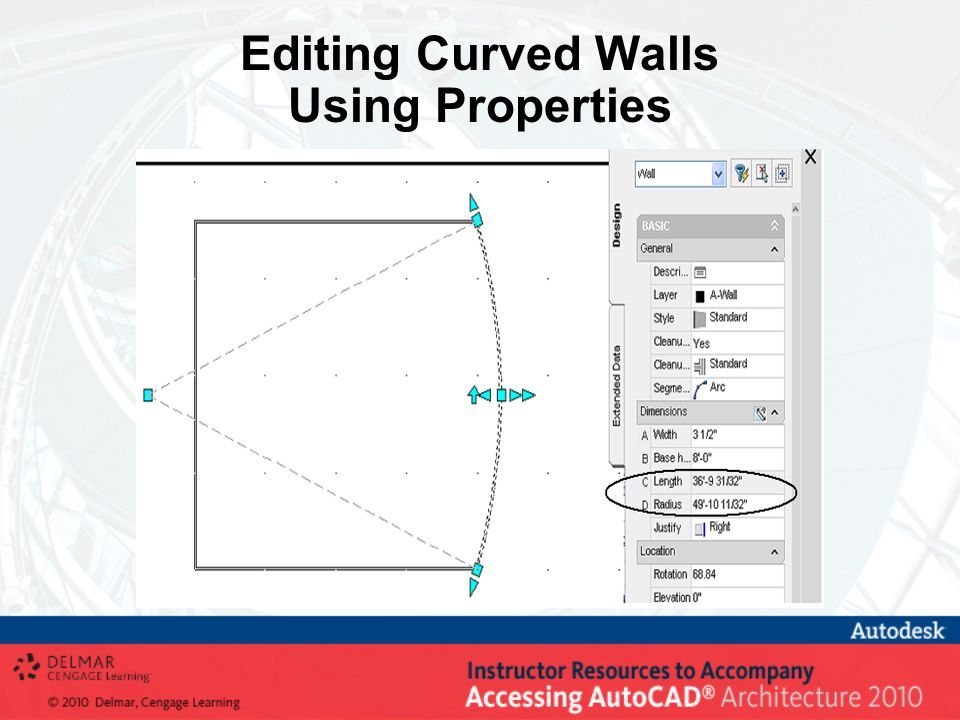 Editing Curved Walls Using Properties
