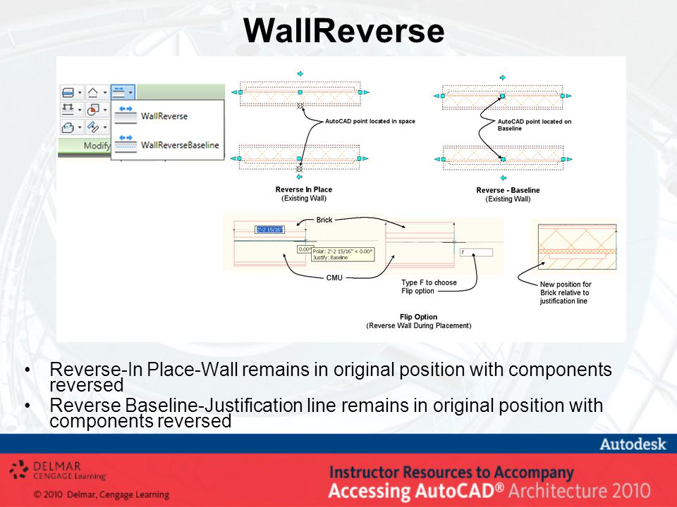 WallReverse Reverse-In Place-Wall remains in original position with components reversed Reverse Baseline-Justification line remains in original position with components reversed